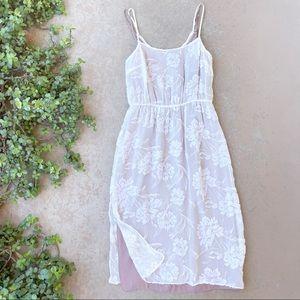 Fleur du Mal White Floral Silk Midi Dress